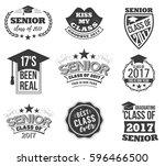 the set of black colored senior ... | Shutterstock .eps vector #596466500