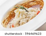 creative italian cuisine  white ... | Shutterstock . vector #596469623