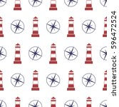 nautical seamless pattern with... | Shutterstock .eps vector #596472524