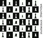 seamless pattern with chess... | Shutterstock .eps vector #596474564