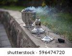 a smoking censer in the... | Shutterstock . vector #596474720