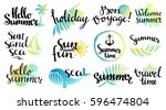 summer logo set. isolated on... | Shutterstock .eps vector #596474804
