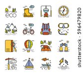 eco tourism icons set on white... | Shutterstock .eps vector #596479820
