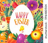 happy easter greeting card.... | Shutterstock .eps vector #596480504