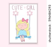 cute hand drawn vector card... | Shutterstock .eps vector #596484293