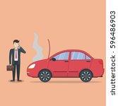 businessman with broken car....   Shutterstock . vector #596486903