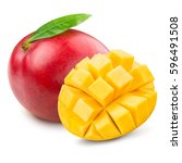 mango isolated on white... | Shutterstock . vector #596491508