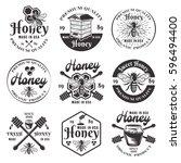 honey and beekeeping set of... | Shutterstock .eps vector #596494400