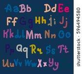 hand drawn alphabet. brush... | Shutterstock . vector #596494580