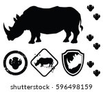 Vector Rhino Silhouette. Symbo...