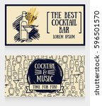 two cards for cocktail bar  can ... | Shutterstock .eps vector #596501570