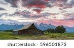 Barn At Sunset At Grand Teton...