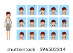 set of business woman emoticons.... | Shutterstock .eps vector #596502314