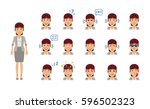 set of business woman emoticons.... | Shutterstock .eps vector #596502323