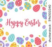 easter greeting card with... | Shutterstock .eps vector #596503340