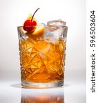 closeup of cocktail old fashion | Shutterstock . vector #596503604