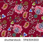 Stock vector elegance seamless pattern with ethnic flowers vector floral illustration in asian textile 596504303
