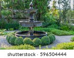 beautiful fountain vintage... | Shutterstock . vector #596504444