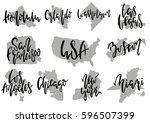 hand drawn lettering 10 popular ... | Shutterstock .eps vector #596507399