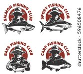 set of fishing club labels...   Shutterstock .eps vector #596508476