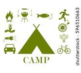 camping icons | Shutterstock .eps vector #596510663