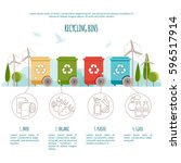recycle bins infographic. waste ... | Shutterstock .eps vector #596517914