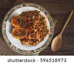 thai traditional food stir... | Shutterstock . vector #596518973