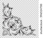 corner ornament in baroque... | Shutterstock .eps vector #596524700
