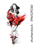 woman fashion model  hand drawn ... | Shutterstock .eps vector #596529260