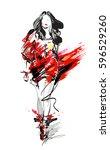 woman fashion model  hand drawn ... | Shutterstock .eps vector #596529260