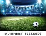 football pitch with green grass ... | Shutterstock . vector #596530808