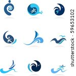 wave  surf and flow icons | Shutterstock .eps vector #59653102