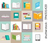 icons of books vector set in a... | Shutterstock .eps vector #596531420