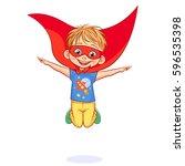vector super boy jumping  hands ... | Shutterstock .eps vector #596535398