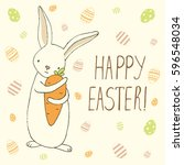 easter greeting card with cute... | Shutterstock .eps vector #596548034