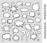 hand drawn set of speech... | Shutterstock .eps vector #596561546