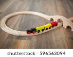 Wooden Toy Train On Railroad...