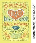 hand lettering merry heart does ... | Shutterstock .eps vector #596566664