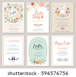 cute happy easter templates... | Shutterstock .eps vector #596576756