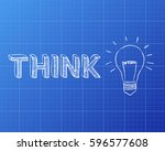 hand drawn think sign and... | Shutterstock . vector #596577608