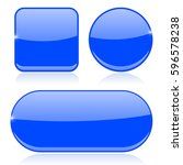 blue buttons. round  square and ... | Shutterstock .eps vector #596578238