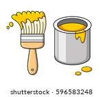 yellow paint brush and bucket... | Shutterstock .eps vector #596583248