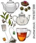 a tea set. teapot and a mug... | Shutterstock .eps vector #596587388