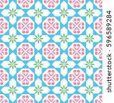 spanish tiles pattern  moroccan ... | Shutterstock .eps vector #596589284