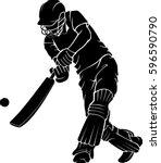 cricket low bat swing | Shutterstock .eps vector #596590790