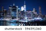 new york skyline from the... | Shutterstock . vector #596591360