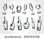 alcoholic glass collection.... | Shutterstock .eps vector #596592548