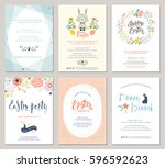 vector easter party invitations ... | Shutterstock .eps vector #596592623