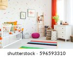 white cradle and decorations in ... | Shutterstock . vector #596593310