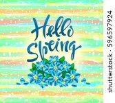 hello  spring. vector hand... | Shutterstock .eps vector #596597924